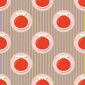 Tomato Pattern. Seamless Texture With Ripe Red Tomatoes