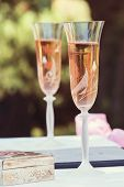 Close Up Of Wedding Glasses With Champagne