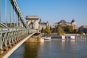 The szechenyi chain bridge on Danube river,  Budapest