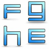 Letters E, F G, H - Set in Touchpad Style.