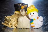Snowman With Wooden Car, Gift Box And Sack