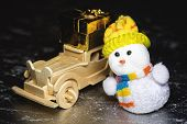 Snowman And Wooden Car With Gift Box