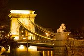 Budapest Chain Bridge by night