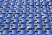 Plastic Blue Seats On Football Stadium