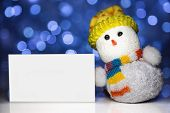 Christmas Snowman Toy With White Blank Card