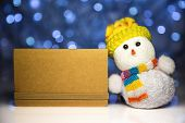 Christmas Snowman Toy And Greeting Blank Card