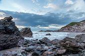Stormy Sunset Sharrow Beach