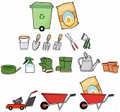 foto of hand-barrow  - Cartoon Mascot Characters Gardener Tools - JPG