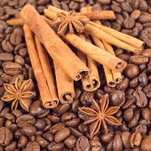 Lots Of Coffee Beans. Three Anise Stars, Lots Of Sticks Of Cinna