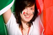 Young Female With Italian Flag As Background