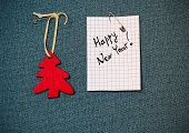 Greeting Card And Christmas Decorations, Pinned On A Blue Background