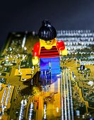 Miniature  Man   Posing  On A Computer Motherboard
