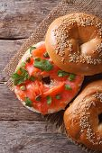Traditional Bagel With Salmon And Cream Cheese Top View Vertical