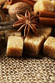 Christmas spices and baking ingredients on sackcloth background
