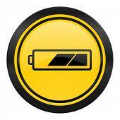 battery icon, yellow logo, charging symbol, power sign