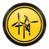 windmill icon, yellow logo, renewable energy sign