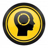 head icon, yellow logo, human head sign