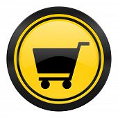 cart icon, yellow logo, shop sign