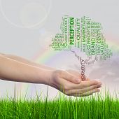 Concept conceptual tree word cloud tagcloud in man or woman hand on rainbow sky grass background, metaphor to business, trend, media, focus, market, value, product, advertising, sale or corporate