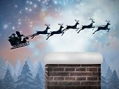Composite image of santa flying his sleigh against snow falling on fir tree forest