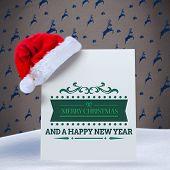 Merry christmas message against grey reindeer pattern