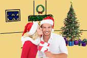 Young festive couple against yellow vignette