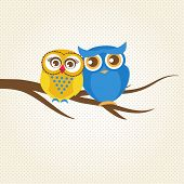 Vector backgrounds with couple of owls on the tree branch. Cute vector illustration for greeting card, invitation or wallpaper design.