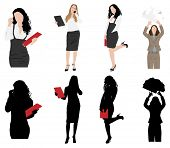 Business women in clothing silhouettes. EPS 10 format.