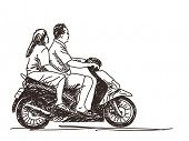 Sketch of couple riding scooter Hand drawn vector illustration