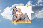 Composite image of lovely couple toasting against cloudy sky