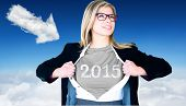 Businesswoman opening shirt in superhero style against cloud arrow