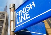 Finish Line blue road sign