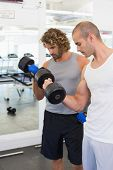 View of sporty young men exercising with dumbbells in the gym