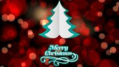 Merry Christmas message against red glowing dots on black
