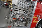 stock photo of fire brigade  - Control panel of a tanker fire brigade - JPG