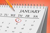 Composite image of january on calendar against orange