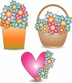 Vector flowerpot, basket and heart with flowers