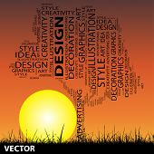 Vector concept or conceptual black abstract art tree and grass shape word cloud on sunset sky background