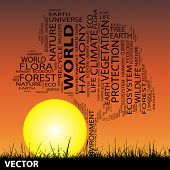 Vector concept or conceptual black ecology text word cloud as tree and grass on sunset sky  background