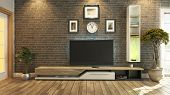 Tv Room Interior Design 3D Rendering