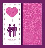Vector pink abstract flowers texture couple in love silhouettes frame pattern invitation greeting ca