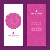 Vector pink abstract flowers texture vertical round frame pattern invitation greeting cards set