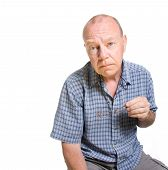 picture of mature men  - Expressive old man looking serious isolated against white background - JPG