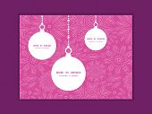 Vector pink abstract flowers texture Christmas ornaments silhouettes pattern frame card template