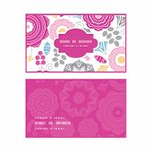 Vector vibrant floral scaterred horizontal frame pattern business cards set