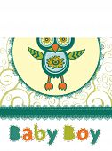Colorful baby shower card with cute owl