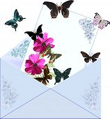 illustration with blue envelope isolated on white background