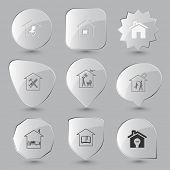 Home set. Vector glass buttons.
