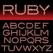 vector alphabet with ruby rocks