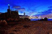 Hong Kong Sunset, Yau Tong Lei Yue Mun water bay and lighthouse